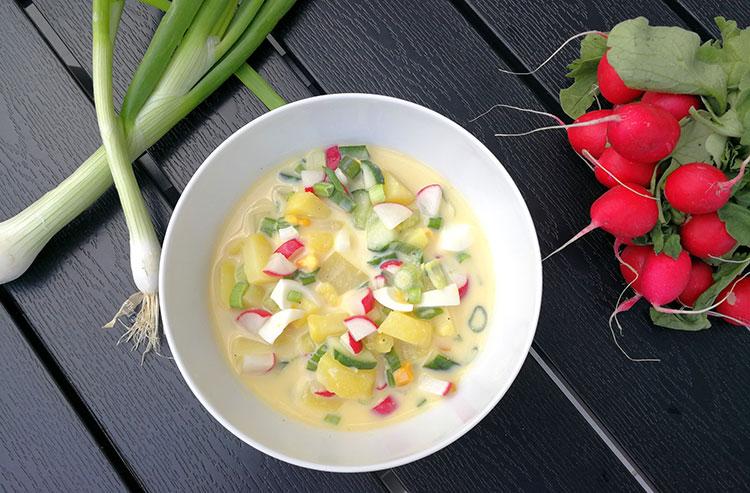 Kalte Buttermilchsuppe mit Ei, Radieschen und Gurke